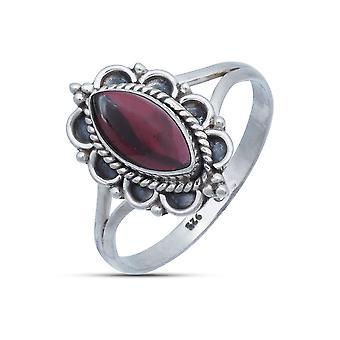 Ring Zilver 925 Sterling Silver Garnet Red Stone (Nr: MRI 152-02)