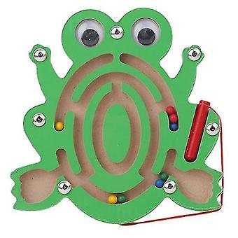 Børn magnetisk labyrint legetøj træ puslespil (Frog)