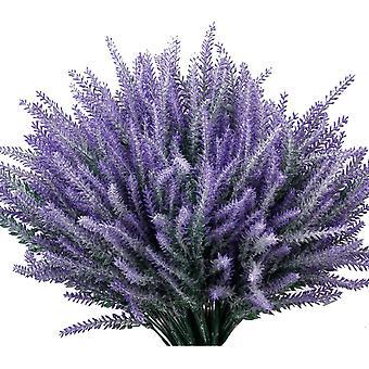 פרחי לבנדר מלאכותיים צמחים מזויפים עם זר חתונה מפלסטיק מזויף לעיצוב המטבח הביתי 10 יחידות סגולות