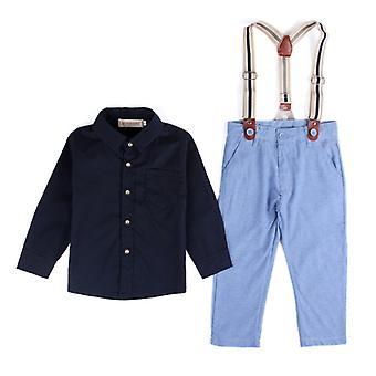 Kid Boy Gentleman Shirt Top Bib Pants Set Wedding Party Outfit Clothes