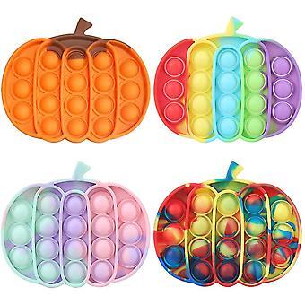 4 Packs Push Pop Bubble Fidget Sensory Toy Halloween Pumpkin