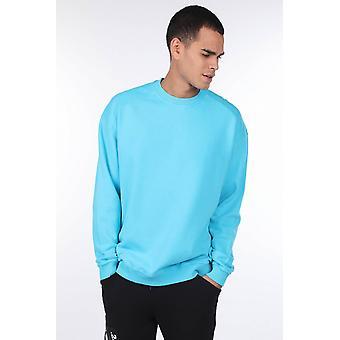 overdimensjonert blå menns mannskap nakke genser