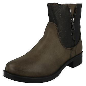 Ladies Spot On Mid Heel Ankle Boots F50704