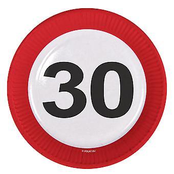 Il numero di segno di traffico della piastra di partito compleanno 30 piastre 8 pz carta festa piastre