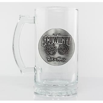 Rick and Morty Get Schwifty Stein Glass