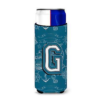 Letter G Sea Doodles Initial Alphabet Ultra Beverage Insulators for slim cans