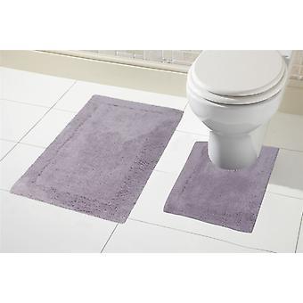 2 Piece 100% Cotton Bath Mat Set Non Slip Pedestal & Mat Set Toilet Bathroom