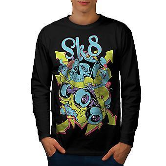 Skate ulic miejskich czaszki mężczyzn BlackLong rękaw T-shirt   Wellcoda