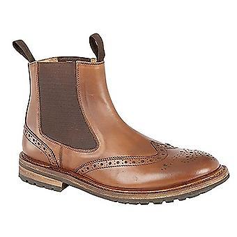 Woodland Mens Brogue Design Gusset Dealer Boots