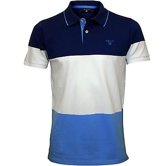 GANT 3-Colour Stripe Pique Rugger Polo Shirt, Yale Blue
