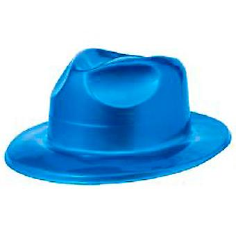 Metalliskt blå plast Fedora Hat