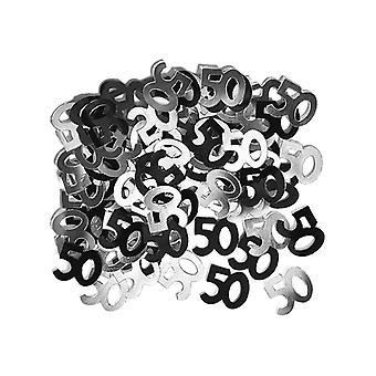 Bursdag glitter svart & sølv 50th Birthday konfetti