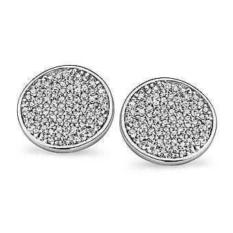 Orphelia Silver 925 Earring Disc Pave Zirconium  ZO-5086