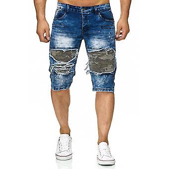 Men's Bermuda Jeans Shorts Destroyed Used Stone Washed Biker Knee Color Splashes