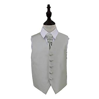 Silver Solid Check Wedding Waistcoat & Cravat Set for Boys