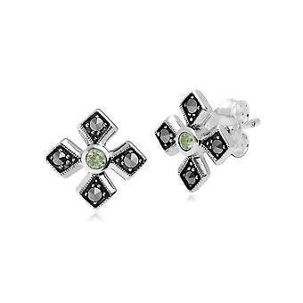 Art Deco Style Round Peridot & Marcasite Gothic Style Cross Studs in 925 Sterling Silver 214E859707925