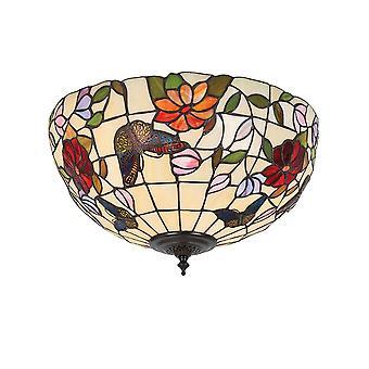 Interiör 1900 Butterfly 2 ljus Medium Tiffany Flush tak Fi