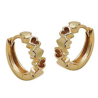 Klappcreolen gold 375 mit Herzen Creole Klappscharnier Zirkonia 9 Kt GOLD