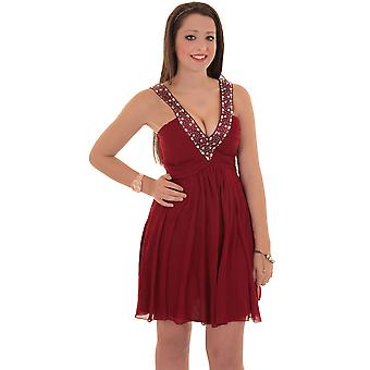 Ladies Diamante V Strap Pleated Padded Chiffon Short Women's Party Dress