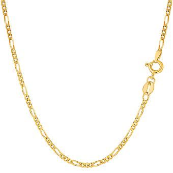 14k Yellow Solid Gold Figaro Chain Necklace, 1.9mm
