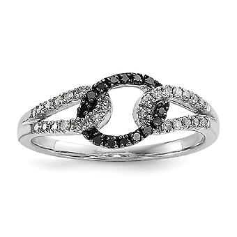 925 Sterling Silver Prong set Gift Boxed Rhodium plated Black and White Diamond Ring Jewelry Gifts for Women - Ring Size