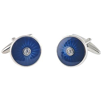 David Van Hagen Epoxy cirkel Crystal Manchetknopen - blauw/zilver