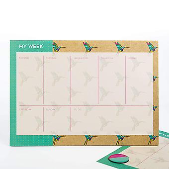 Mustard Gifts Origami Design Weekly Planner Tear Off Pad
