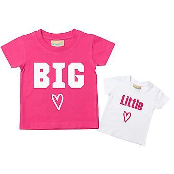 Big Sister Little Sister Heart Tshirt Set
