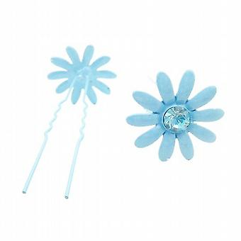 Girls Hair Pin Blue Flower Hair Pin w/ Matching Crystals Jewelry Gift