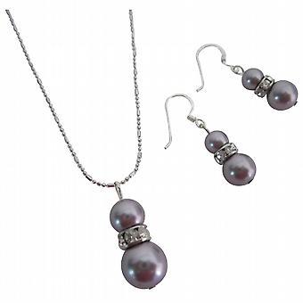 Magnificent Swarovski Jewelry Mauve Pearls Flower Girls