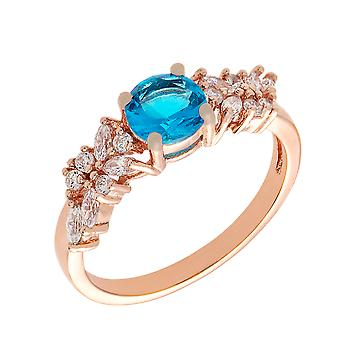 Bertha Juliet Collection Women's 18k Rose Gold Plated Light Blue Cluster Fashion Ring Size 7