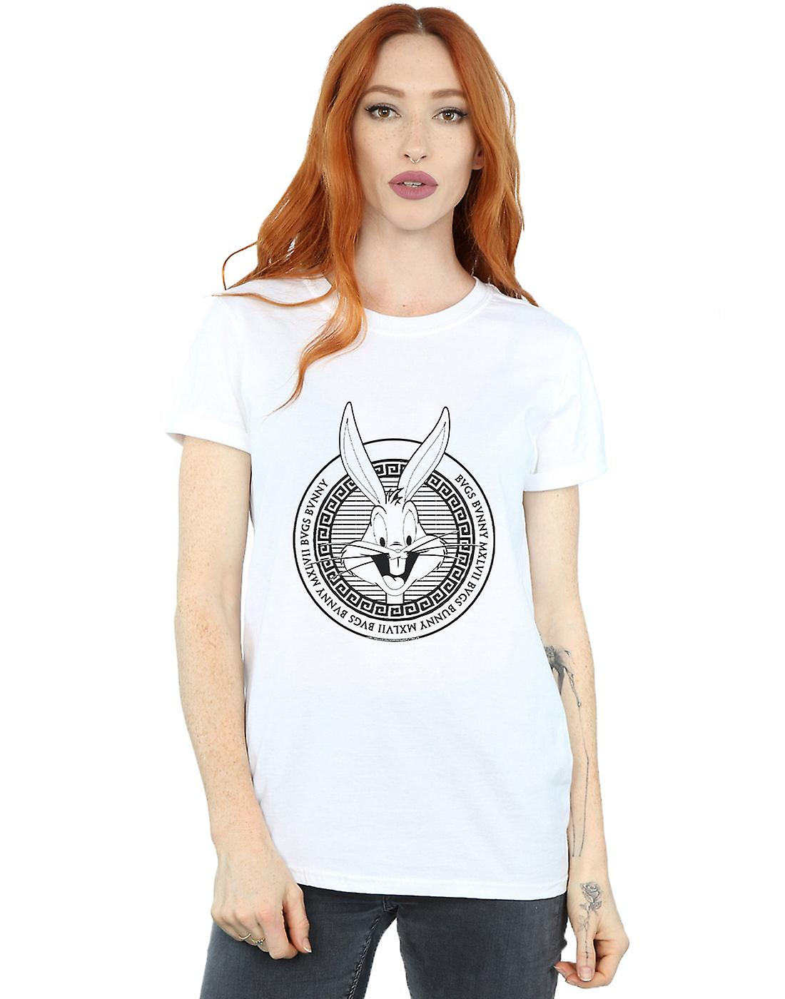 Looney Tunes Women's Bugs Bunny Greek Circle Boyfriend Fit T-Shirt