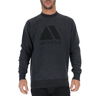 Maison Kitsuné Bm00309bt1501anthracite Men's Black Cotton Sweatshirt