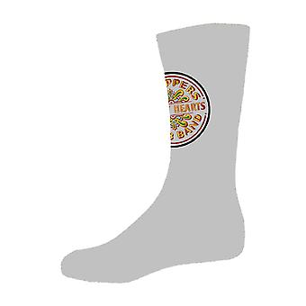 The Beatles Sgt Pepper Drum Band Logo Oficial Hombres Calcetines Grises Tamaño 7-11