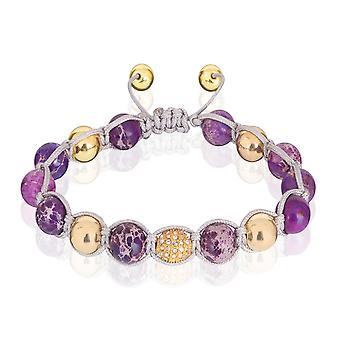 Шкипер жемчужный браслет браслет размер регулируемые фиолетовый/золото 7877 камень