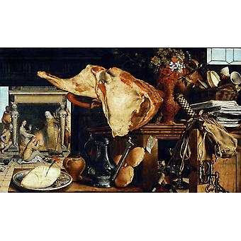 Vanitas still-life in the background, Pieter Aertsen, 60x36cm