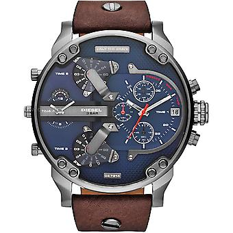 Diesel Dz7314 Little Daddy Dual Time Leather Mens Watch