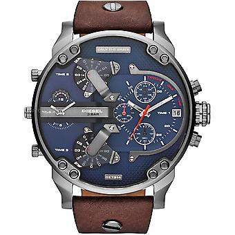 Diesel Dz7314 mały Tatuś podwójny czas skórzany męski zegarek