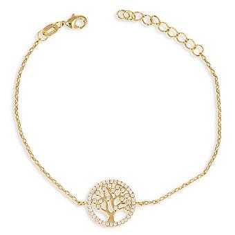 Gold Plated Bracelet Tree Of Life With Zirconia Zirconia 18cm