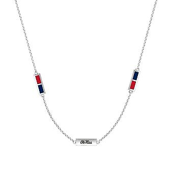 University Of Mississippi Sterling Silver Engraved Triple Station Necklace In Red & Blue