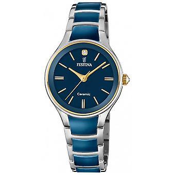 Festina   Womens Ceramic   Silver/Blue Bracelet   Blue Dial   F20474/3 Watch