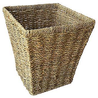 Seagrass Square Waste Paper Basket Bin