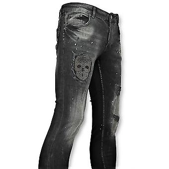 Black Skinny Jeans With Patches - 059