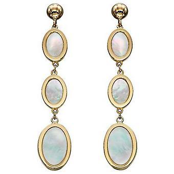 Elementos Oro Ovalado Madre de Perla Pendientes Caídos - Oro / Crema