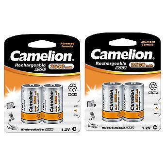 4x Camelion rechargeable C batteries NiMH HR14 2500mAh battery