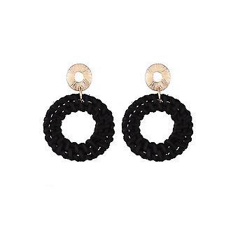 Black Straw Earrings