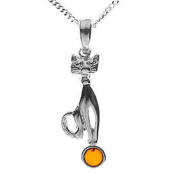 InCollections 541A200620890 - Chain with women's pendant with amber - silver sterling 925
