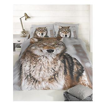 Wolf Design Double Duvet Cover and Pillowcases Set
