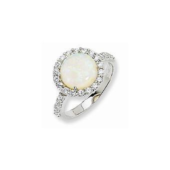 925 Sterling Silver Rhodium verguld gesimuleerde opaal en kubieke Zirconia Ring Sieraden Geschenken voor vrouwen - Ring Size: 6 tot 8