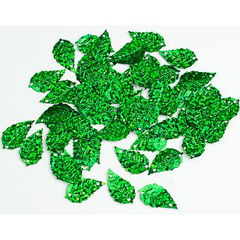 LAST FEW - 2.5g Green Leaf Holographic Sequins with Holes for Pins